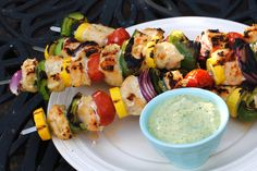 Chicken Kebabs with Creamy Pesto ~ Light, fresh and very healthy!