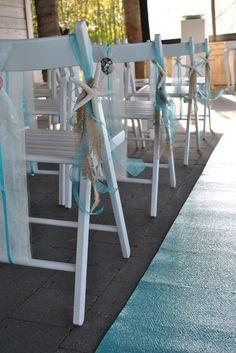 Ceremony beach turquoise. www.simones-styling.nl Ceremonie styling Aquabest, Beachclub Sunrise, Buddhalounge.