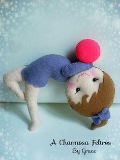 Bonecas ginastas de feltro com moldes