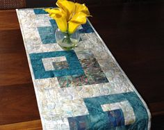 Modern Batik Table Runner, Teal and Taupe Quilted Tablerunner, Handmade Wallhanging, Reversible Table Quilt, Contemporary Dining Decor