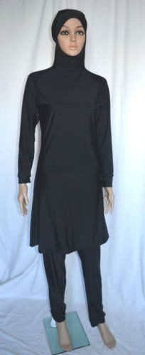 059961f9c2ea32 Al-Hamra New Plain Black Full Cover Muslim Islamic Swimsuit Swimwear (S).