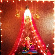 Best Home Decoration Stores Eco Friendly Ganpati Decoration, Ganpati Decoration Design, Diwali Decorations, Festival Decorations, Flower Decorations, Apartment Party, Ganesh Chaturthi Decoration, Ganapati Decoration, Puja Room