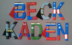 Handpainted tall wood letters by TheHandpaintedHero on Etsy - cute idea! Diy Letters, Painted Letters, Wood Letters, Hand Painted, Boys Room Decor, Boy Room, Kids Room, Superhero Room, Superhero Letters