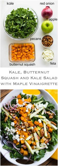 4 Points About Vintage And Standard Elizabethan Cooking Recipes! Kale, Butternut Squash And Apple Salad - Healthy Kale Greens With Roasted Butternut Squash And Tart Apple, Tossed With Feta, Pecans In A Zesty-Sweet Maple Vinaigrette Littlebroken Vegetarian Recipes, Cooking Recipes, Healthy Recipes, Vegan Meals, Easy Cooking, Healthy Salads, Healthy Eating, Kale Salads, Kale Apple Salad