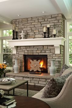 Remarkable Interior with Fireplace Mantel Shelf on Stoney Wall Design add with Rack for Candle Holder and Jar - Interior Decoration Ideas - 4104
