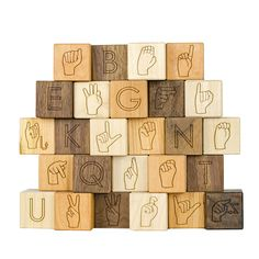 ASL Alphabet Wooden Blocks, sign language kids toy Asl Sign Language, British Sign Language, Sign Language For Toddlers, Sign Language Interpreter, Wooden Alphabet, Alphabet Blocks, Montessori, Kids Toys, Kids Learning Toys