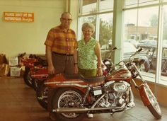 Harold and Eva Mathews, 1971! 1st year of the FX1200 Super Glide (Boat Tail)!