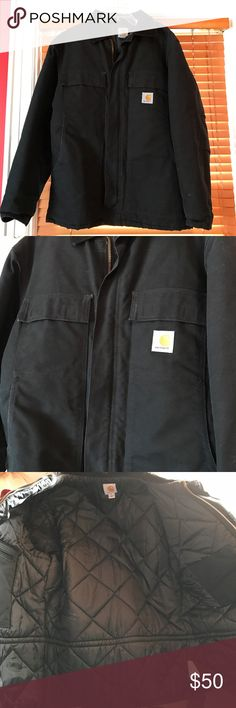 Carhartt Black Jacket Size Medium. Excellent used condition, worn only a few times. Lined inside for extra warmth. Multiple outside pockets and two inside pockets. Strong zipper with velcro. Carhartt Jackets & Coats