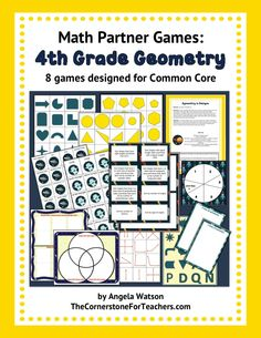 4th Grade Geometry Games: math partner games for Common Core. Very fun and engaging! Includes games for: points, lines, line segments, rays, right/acute/obtuse angles, perpendicular/parallel lines, lines and angles in 2D shapes, right triangles, lines of symmetry, and more.