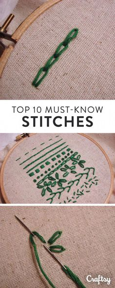 Do you know how to sew these top 10 hand embroidery stitches? embroidery and stitching The Top 10 Hand Embroidery Stitches Every Beginner Should Learn Silk Ribbon Embroidery, Crewel Embroidery, Embroidery Thread, Cross Stitch Embroidery, Embroidery Supplies, Learn Embroidery, Embroidery Tattoo, Machine Embroidery, Handkerchief Embroidery