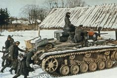 """Tank PzKpfw III during the operation """"Typhoon"""". November-December 1941. Operation """"Typhoon"""" - the plan of attack of German troops on Moscow in autumn 1941."""