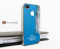 silvery  Iphone case iphone 4 case iphone 4s case iphone 4 cover Iphone blue wood style  image unique design printing. $16.99, via Etsy.