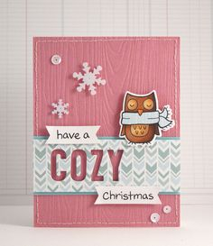 Lawn Fawn - Cole's ABCs Lawn Cuts dies, Winter Owl stamp and die, cozy Christmas, Snowflake Sequins, Peace Joy Love 6x6 and 12x12 paper _ cozy Christmas card by Yainea