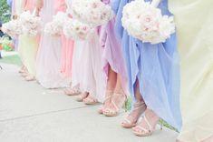 pastel rainbow bridesmaid dresses #pastelweddings #pastelweddingideas #pastelbridesmaidgowns