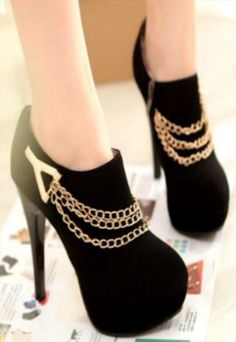Suede Chain Decorated Black High Heel Ankle Boots
