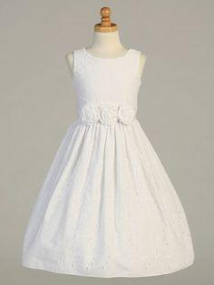 White Embroidered Cotton Dress w/ Flower Cummerbund