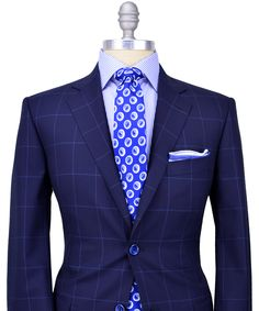 Very classy and original pairing; navy blue sport coat/light blue sport shirt/patterned royal blue tie. Guys don't be afraid to mix and match with different colors, or different patterns with patterns. My point is express yourself and if it feels good to you, then go with it because everyone needs to have their own style.
