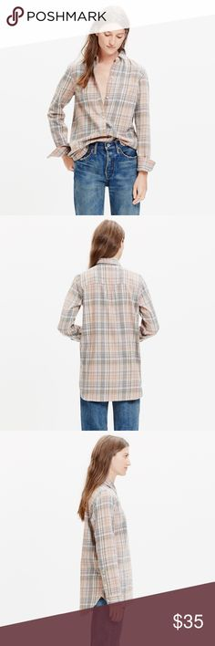 Madewell Ex-Boyfriend Shirt PRODUCT DETAILS A timeless button-down shirt in a low-key pink-and-grey plaid. Slightly oversized with ready-to-roll sleeves, this version is just right.    Slightly oversized fit. Cotton. Machine wash. Import. Madewell Tops Button Down Shirts