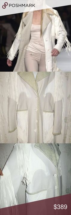 VERSACE Ivory / Gray Leather Shearling Fleece 42 6 Very good condition. It's made of soft shearling fur backed leather with off-white suede trim and leather fringe. Some of the long, thin leather fringe came off the back as photographed. Loose straight cut with three suede covered buttons on front, two patch pockets, Western styling and fringe all over. Side and rear hem slits. Made in Italy. Bust 38, Shoulders 16, Sleeves 27, Hips 40, Length 45, Hem 46. Versace Jackets & Coats