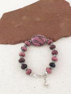 Pink and Black Rhodonite Gemstone Bracelet on Etsy $75 USD Only 1 available #rhodonitebracelet #pinkbracelet #pinkandblack #giftforher #mothersdaygift