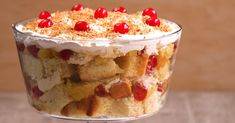 If you're a fan of delicious tasting trifles, than this is a recipe for you! Scrumptious layers of light and fluffy vanilla cake, pineapples, cherries and a creamy cheesecake mixture in the center...how can you possibly go wrong? These tasty desserts is what summer is all about, and the