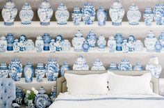 Blue and white porcelain wallpaper in bedroom