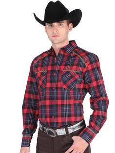 34918 Camisa Vaquera Caballero El General, 55% Cotton 45% Polyester - Red