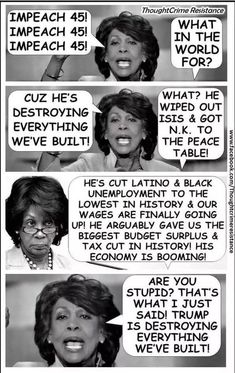 """Well, at least Crazy Aunt Maxine has a factual motivation to want President Trump gone, instead of just, """"Russia Russia Russia."""" lol ~Brian ~ RADICAL Rational Americans Defending Individual Choice And Liberty Liberal Hypocrisy, Liberal Logic, Stupid Liberals, Bye Bye, Donald Trump, Maxine Waters, Trump Is My President, Political Memes, Political Pictures"""