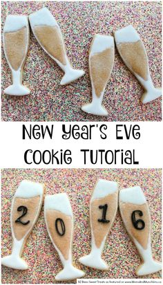 New Year's Eve Cookies - Champagne Glasses Champagne Cookies - an adorable cookie decorating tutorial perfect for New Year's Eve, a Bridal Shower, an Engagement Party, and more! New Years Eve Dessert, New Years Eve Food, New Years Eve Party, Iced Cookies, Cute Cookies, Royal Icing Cookies, Sugar Cookies, Cakepops, New Year's Desserts