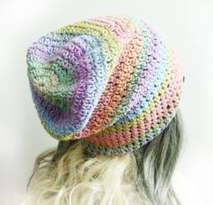 Pastel rainbow beanie Pink girl Slouchy Beanie Women