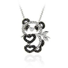 DB Designs Sterling Silver Black Diamond Accent Panda Bear Necklace - Too cute not to pin ^.^  $22.99
