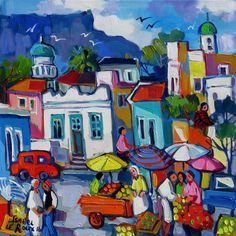 Artwork of Isabel le Roux exhibited at Robertson Art Gallery. Original art of more than 60 top South African Artists - Since South African Artists, Z Arts, Naive Art, People Art, City Art, Whimsical Art, Acrylic Painting Canvas, Urban Art, Art Google
