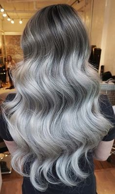 Chrome Silver Hair and huge waves by Eva Lam. HOT Beauty Magazine Granny hair facebook.com/hotbeautymagazine