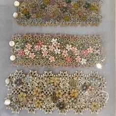 A few new L'Orina pieces, fresh from Paris .Absolutely lovely tatting work here! Tatted bracelets are one of my favorite things to cro-tat!The French Needle ( Tatting Bracelet, Lace Bracelet, Tatting Jewelry, Lace Jewelry, Tatting Lace, Bracelets, Shuttle Tatting Patterns, Needle Tatting Patterns, Sewing Hacks