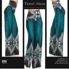 4x Host pick  Palazzo pants in teal Gorgeous palazzo pants in t wo color as pictured. 95% polyester 5% spandex .  3 pieces left . Price is final unless bundled Pants Wide Leg