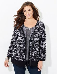 Our polished moto jacket makes an impact with its criss-cross print and faux leather trim. The soft textured knit fabric keeps you cozy all day long. Asymmetrical zip-front opening. Long sleeves with ribbed ends. Side waist pockets. Ribbed hem. Catherines jackets are styled exclusively for the plus size woman. catherines.com