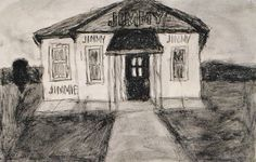 James Castle Jimmy Jimmie house, nd sit and soot on found cream paper, 7 x 11""