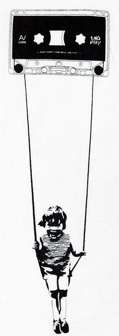 Kid Swing Tape Rope Banksy Street Art T-Shirt Graffiti Stencil Sz L #streetart