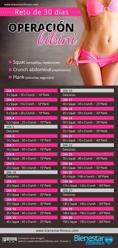 Reto fitness de 30 días con sentadillas, crunch y plancha abdominal. #deporte #infografias #operacionbikini