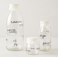 glass dairy bottles from Anthropologie - more interior inspiration at jojotastic.com