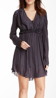 V-Neck Dress with dark tights and black boots
