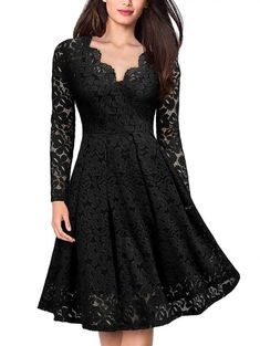 Lace V Neck Long Sleeves Swing Dress - BLACK 2XL Dress Clothes For Women 1b5cec518