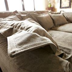 Braun Couch Hussensofa mit Kissen_3