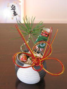 Small Pine Bonsai Pot for Japanese New Year|正月用のミニ盆栽