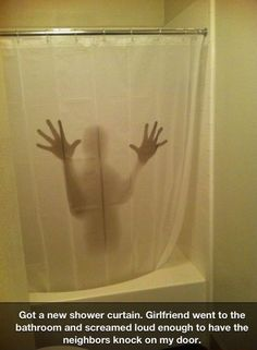 The perfect shower curtain… it would go great with that bath mat that goes red when your wet feet touch it!!! Where do I find these?!