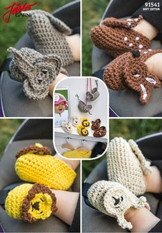 Crochet cute baby slippers with animals. Free pattern in Swedish, Danish and Norwegian on our website. Crochet Mittens, Crochet Slippers, Crochet Scarves, Knitted Hats, Newborn Crochet, Crochet Baby, Knit Crochet, Baby Slippers, Crochet Animals