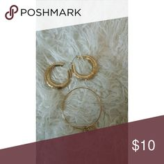Gold earrings and necklace bundle Gold earrings and necklace bundle Jewelry Earrings