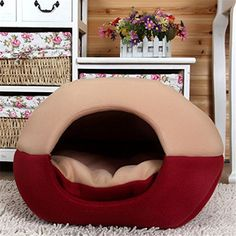 FFMODE Cozy Pet Dog Cat Cave Mongolian Yurt Shaped House Bed with Removable Cushion inside, 45X35X40cm, Khaki&Red *** Click image for more details.