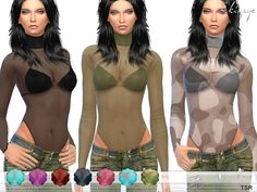 The Sims Resource: High Neck Sheer Mesh Top by ekinege Sims 4 Teen, My Sims, Sims Cc, Sheer Clothing, Sims 4 Clothing, Sims 4 Controls, Sheer Mesh Top, The Sims4, Calvin Klein Collection