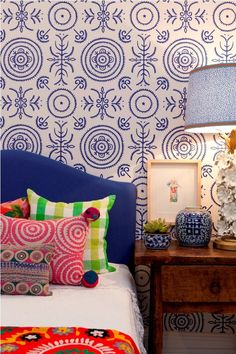 Wallpaper. Fun eclectic bedroom by Anna Spiro